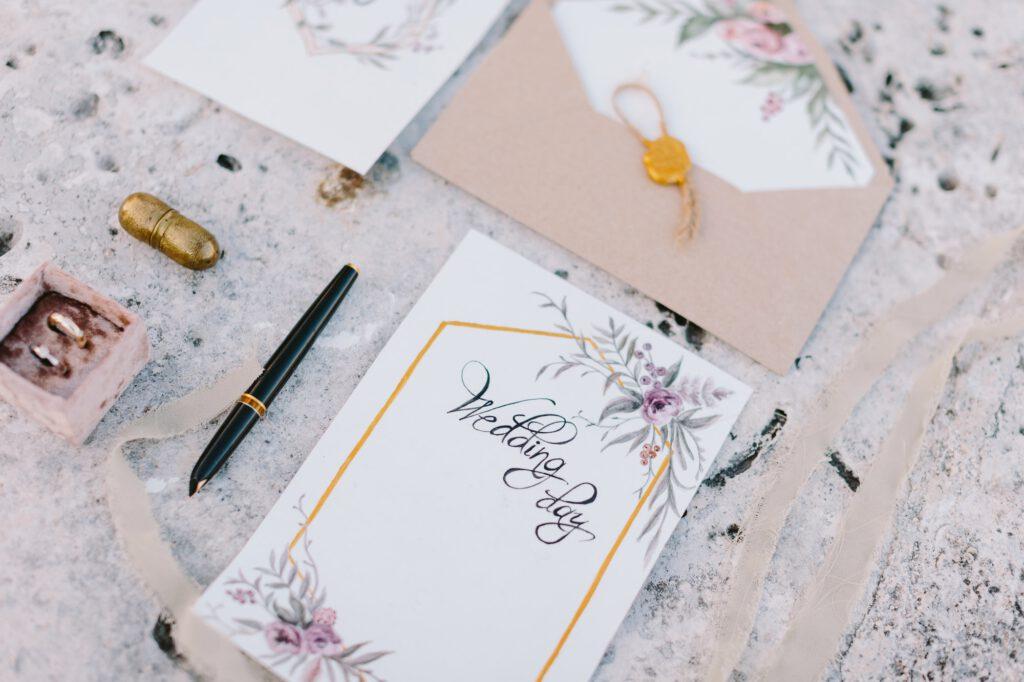 wedding invitation card decoration lay flat fine art